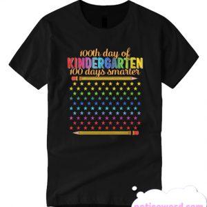 100 Days Of Kindergarten Smarter Rainbow Stars USA School smooth T Shirt