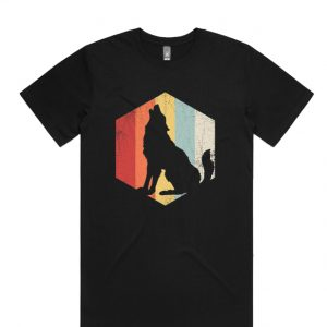 Wolf Retro Distressed Style DH T-Shirt